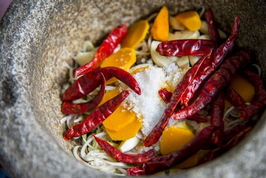 Ingredient of Thai curry are in the mortar2