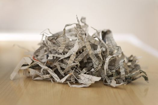Pile of shredded newspaper close-up