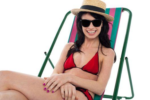 Pretty smiling bikini woman