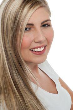 Face closeup of a charming teen girl