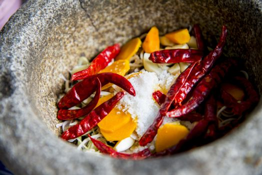 Ingredient of Thai curry are in the mortar1
