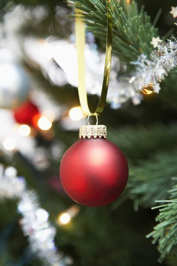 Closeup of red bauble hanging on Christmas tree