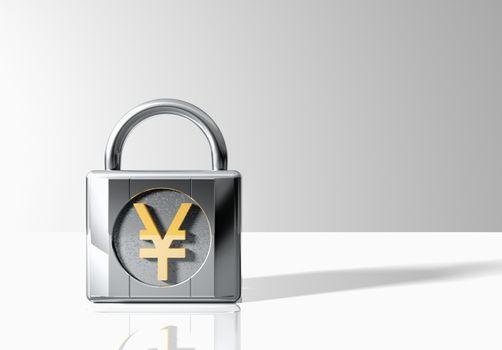 Padlock with yen symbol over grey background
