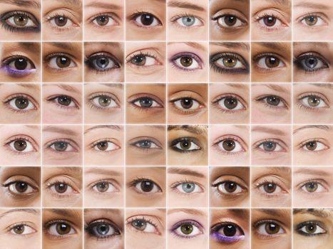 Digital composite of female eyes in grid