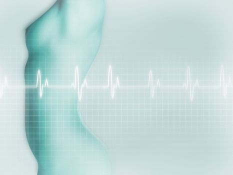 Digital composite of an electrocardiogram against naked woman