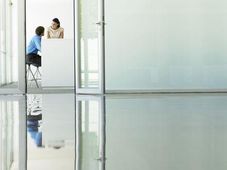 Businessman and businesswoman in meeting viewed through open office door