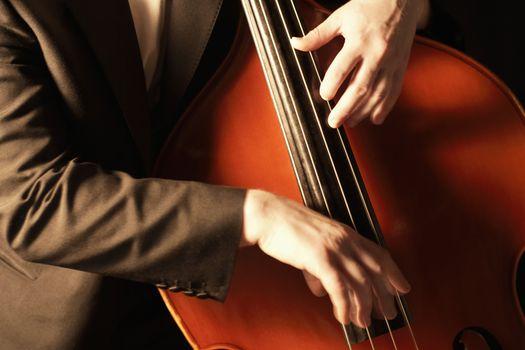 Closeup of hands plucking fingerboard of double bass