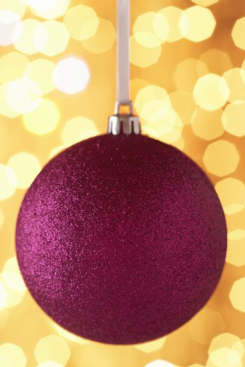 Closeup of glittering pink Christmas bauble