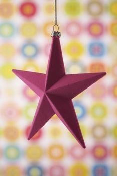 Closeup of Christmas star ornament