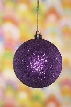 Closeup of purple Christmas bauble
