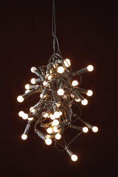 Tangled lights on black background