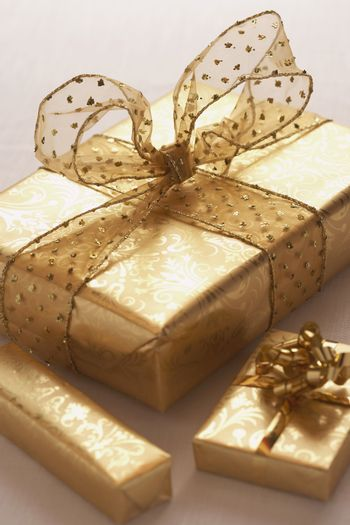 Closeup of wrapped Christmas presents