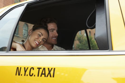 Couple In Yellow Taxi