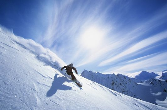 Person skiing on mountain slope