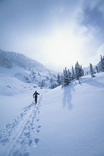 Cross country skier in mountains