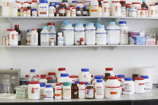 Shelves full of medications in laboratory