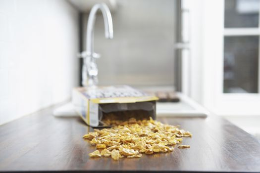 Some cereals fallen down on kitchen counter