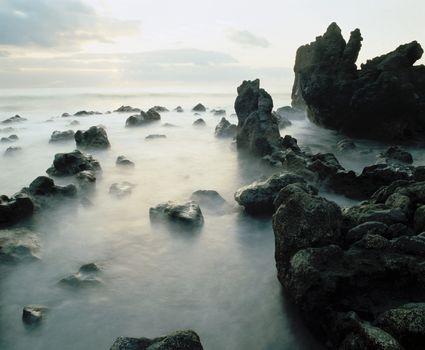 Fog among rocks on coastline