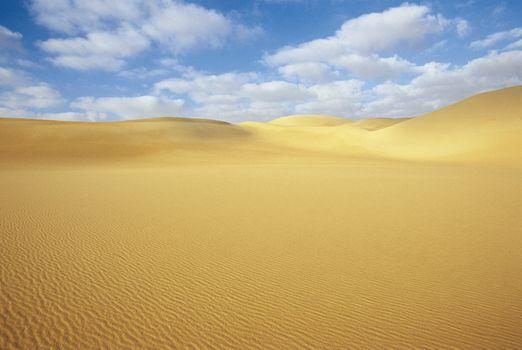 Desert and sand dunes under blue sky
