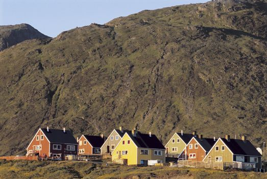 Residential houses at base of hill