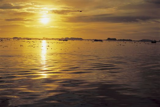 Reflection of sunset on sea surface