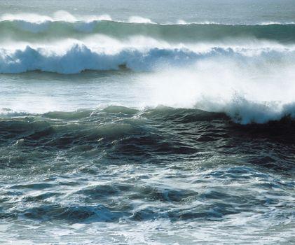 Waves crashing on shore