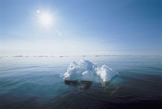 Ice floating in ocean