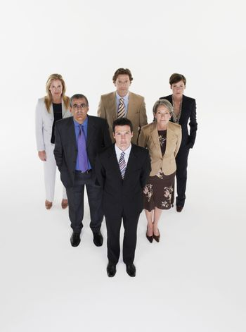 Group of businesspeople in triangle formation
