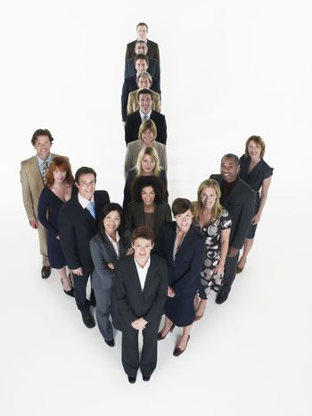 Group of Businesspeople in arrow formation