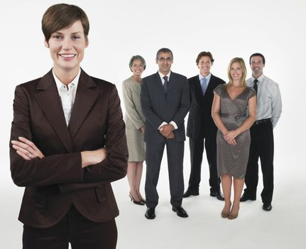 Proud Businesswoman group behind