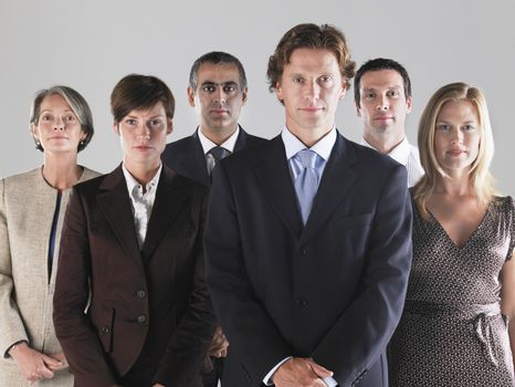 Group of serious businesspeople