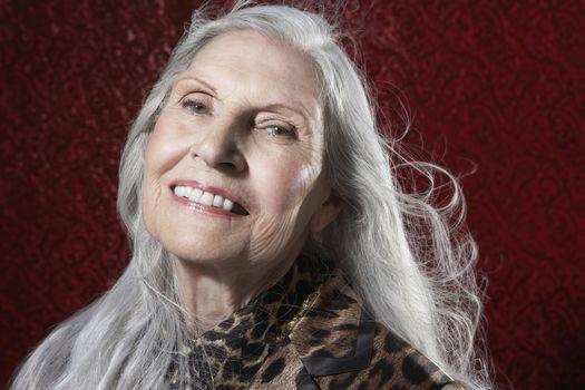 Senior Woman with Long Hair smiling