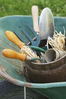 Extreme closeup of gardening tools