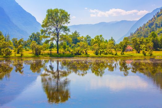 Green nature landscape with mountains