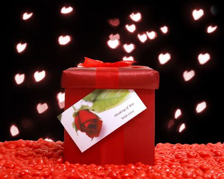 A romantic gift gestures the love in the air.