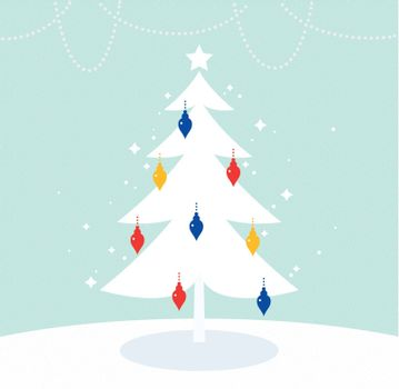 Merry Christmas simple Tree for your Holiday greeting. Vector Illustration