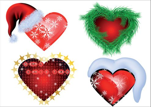 set of christmas heart isolated on white