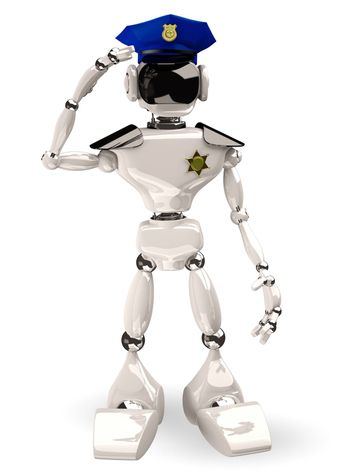 3d illustration of a cop robot on white background