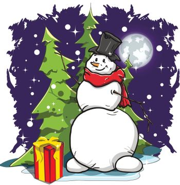 Illustration snowman with gifts on blue background