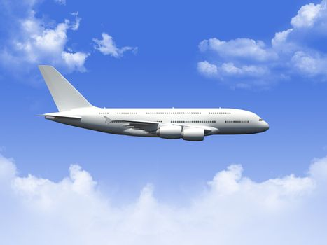 Flying commercial airplane against blue cloudy sky.