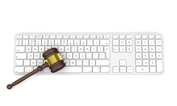 Wooden gavel on computer keyboard, symbol of law and justice in technology, isolated on white background