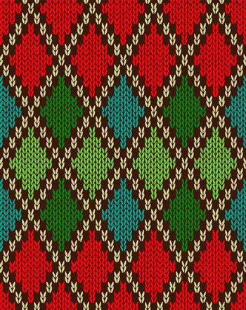 Seamless Christmas Knitted Pattern. Style Knit woolen jacquard ornament texture. Fabric color tracery background