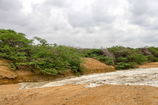 Flash flood filling up a dry river bed in a desert