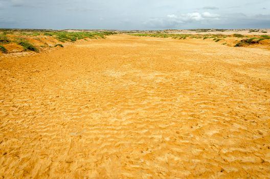 Dry river bed in a desert in La Guajira, Colombia