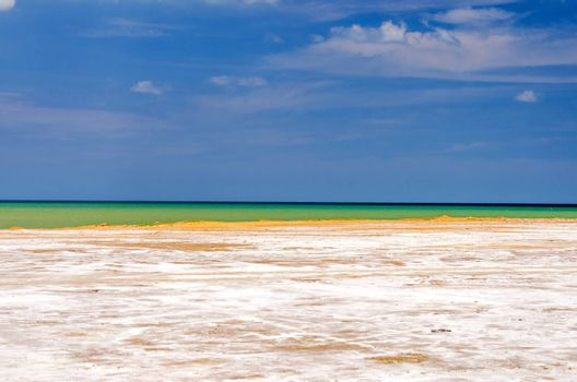 Coastal landscape with white salt in Manaure in La Guajira, Colombia