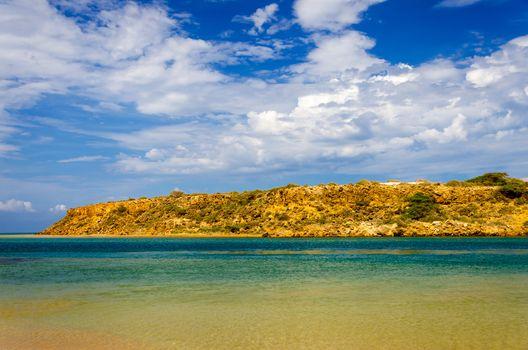 Dry landscape next to the Caribbean Sea in La Guajira, Colombia