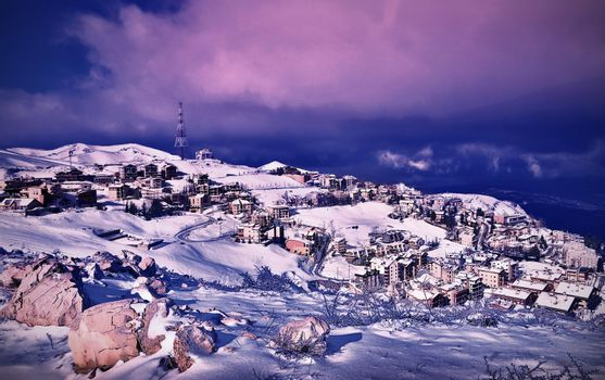 Wintertime village landscape