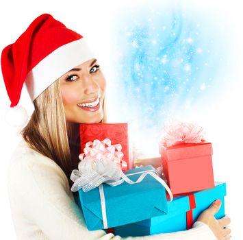 Santa girl with gifts