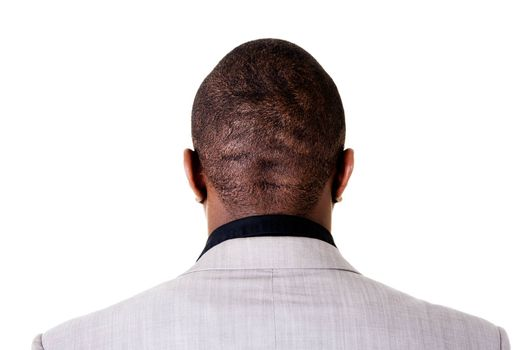 Black male head, back view. Isolated on white.