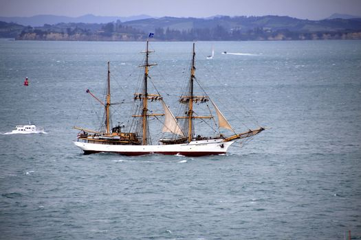 "AUCKLAND-October 25: Tall ship, a completed barque named ""Picton Castle"" of Canada sailing in from Australia arriving in Waitemata Harbour in Auckland, New Zealand on Friday October 25, 2013."